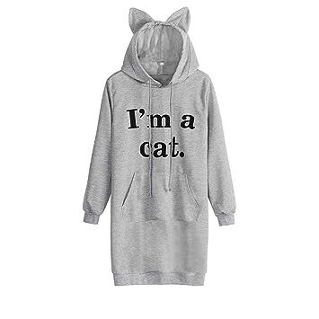 ZHRUI Vestido Estilo Sudadera con Capucha de Manga Larga con Estampado de Carta de A Cat para Mujer (Color : Gris, tamaño : Medium): Amazon.es: Hogar