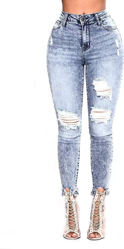 Waveni Jeans Elastizados Para Mujer Talla Grande Cintura Alta Pantalones Vaqueros Ajustados Mezcla De Algodon Style 1 Xxx Large Amazon Es Hogar