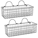 wall basket - Home Traditions Rustic Farmhouse Vintage Wire Wall Basket, Set of 2 Medium - Gray