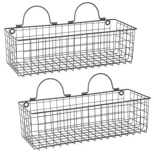 DII Z02022 Vintage Wire Wall Basket, Medium, - Vintage Decor Nursery