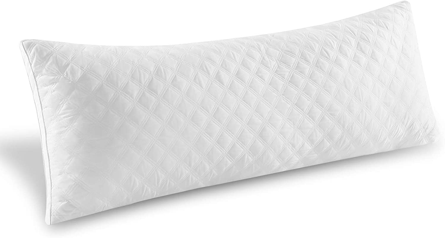 "Premium Adjustable Loft Quilted Body Pillows - Hypoallergenic Fluffy Pillow - Quality Plush Pillow - Down Alternative Pillow - Head Support - Pain Relief Pillow - 21""x54"""
