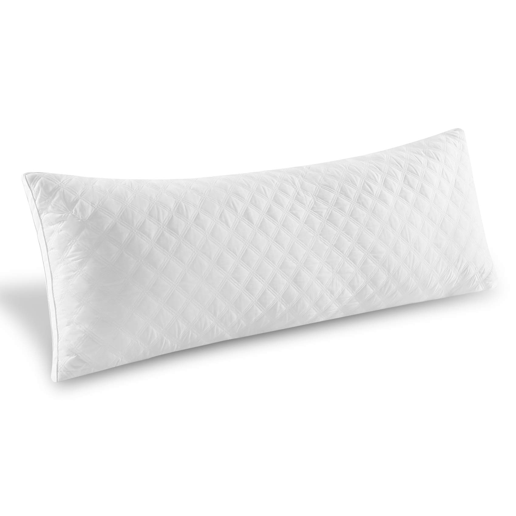 Premium Adjustable Loft Quilted Body Pillows - Hypoallergenic Fluffy Pillow - Quality Plush Pillow - Down Alternative Pillow - Head Support - Pain Relief Pillow - 21''x54''