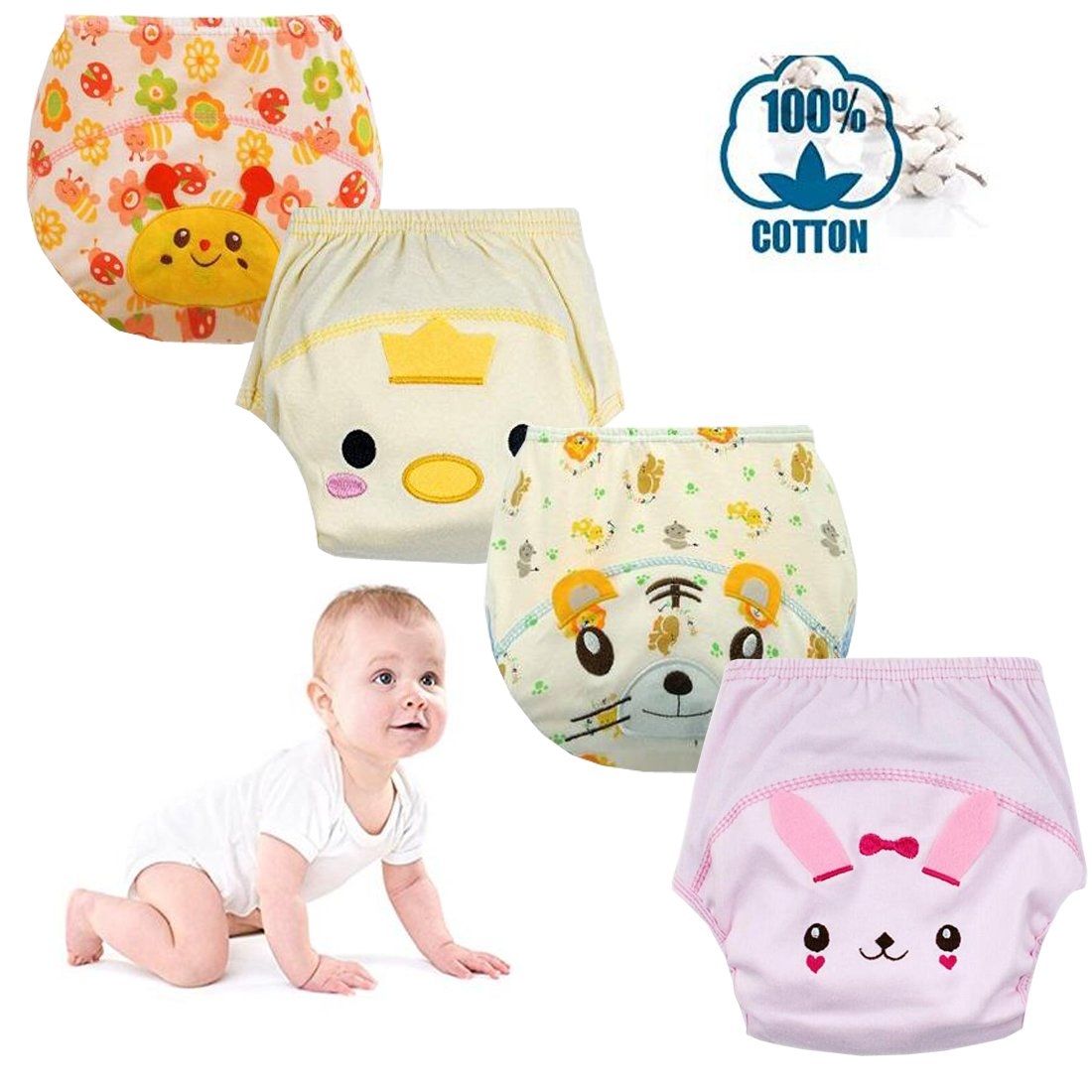 October Elf Unisex Baby Toddler Potty Training Pants Reusable Pack of 4