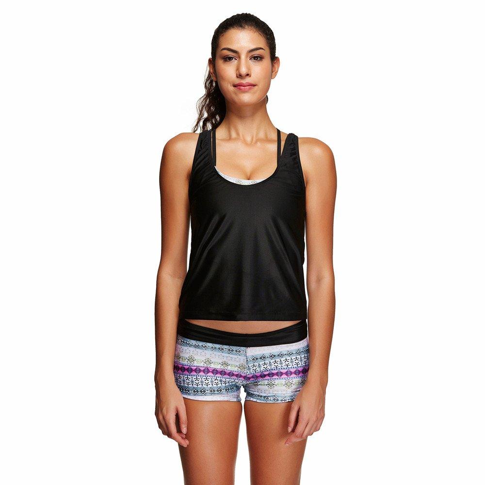 Berimaterry Damen Sport Yoga Fitness 3-Teilig Tankini mit Shorts Strand Bikini Set mit Tops Bademode Strandmode Tankini Set Schwimmanzug Push Up Sport Swimwear