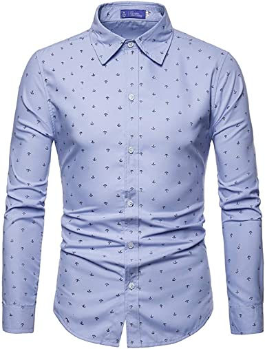 Camisa De Manga Larga De Algodón para Hombres Anchor Estilo ...