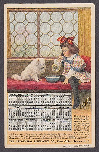 Prudential Insurance Co 1910 Calendar undivided back advertising postcard