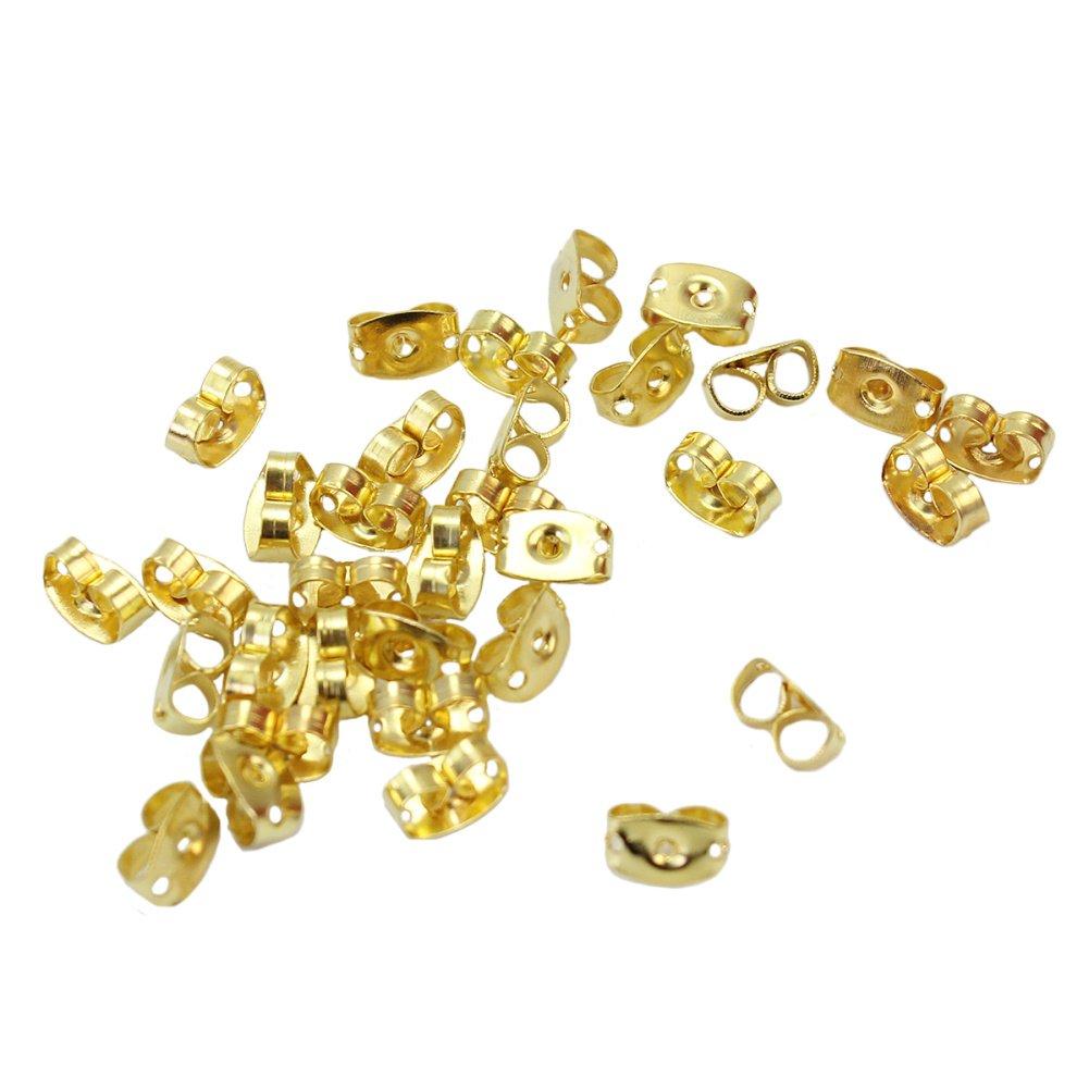 100 Pcs Gold Tone Butterfly Design Earring Backs Stopper Earring Accessories styleinside