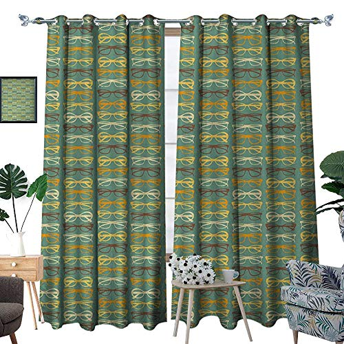 RenteriaDecor Vintage Thermal Insulating Blackout Curtain Retro Funky Sunglasses Collection Old Fashioned Accessories Grunge Looking Pattern Patterned Drape for Glass Door W84 x L108 Multicolor ()