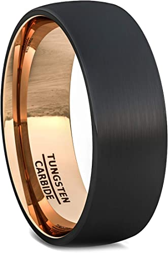 Classic Black Matte Finish Men Ring Tungsten Gold-Color Wedding Engagement Band Comfort Fit