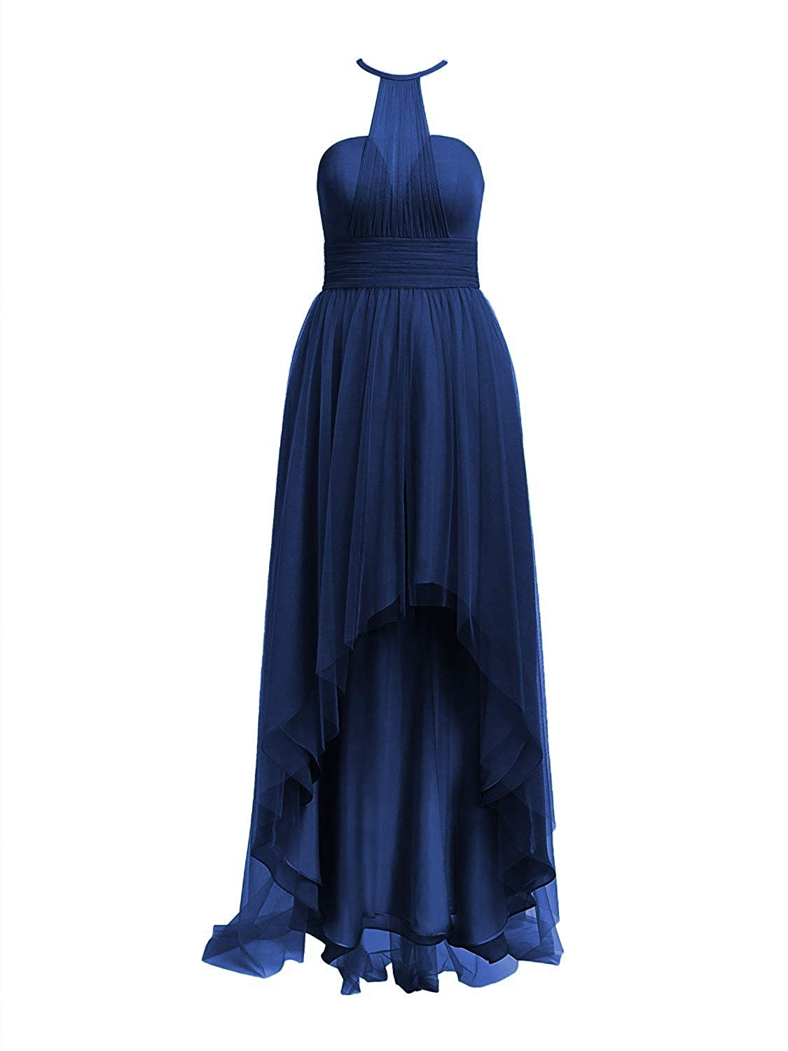 Royal bluee Tulle Bridesmaid Dresses High Low Halter Prom Party Gowns Backless Evening Formal Dress