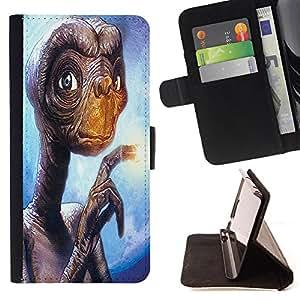 - Skull Devil Diablo Extraterrestrial - - Prima caja de la PU billetera de cuero con ranuras para tarjetas, efectivo Compartimiento desmontable y correa para la mu?eca FOR Apple iPhone 5 5S King case