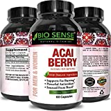 Acai Berry Concentrate Capsules – Antioxidant Dietary Supplement for Weight Management + Digestive Support + Increase Energy – Anti-Aging Vitamins + Minerals + Antioxidants – By Bio Sense For Sale