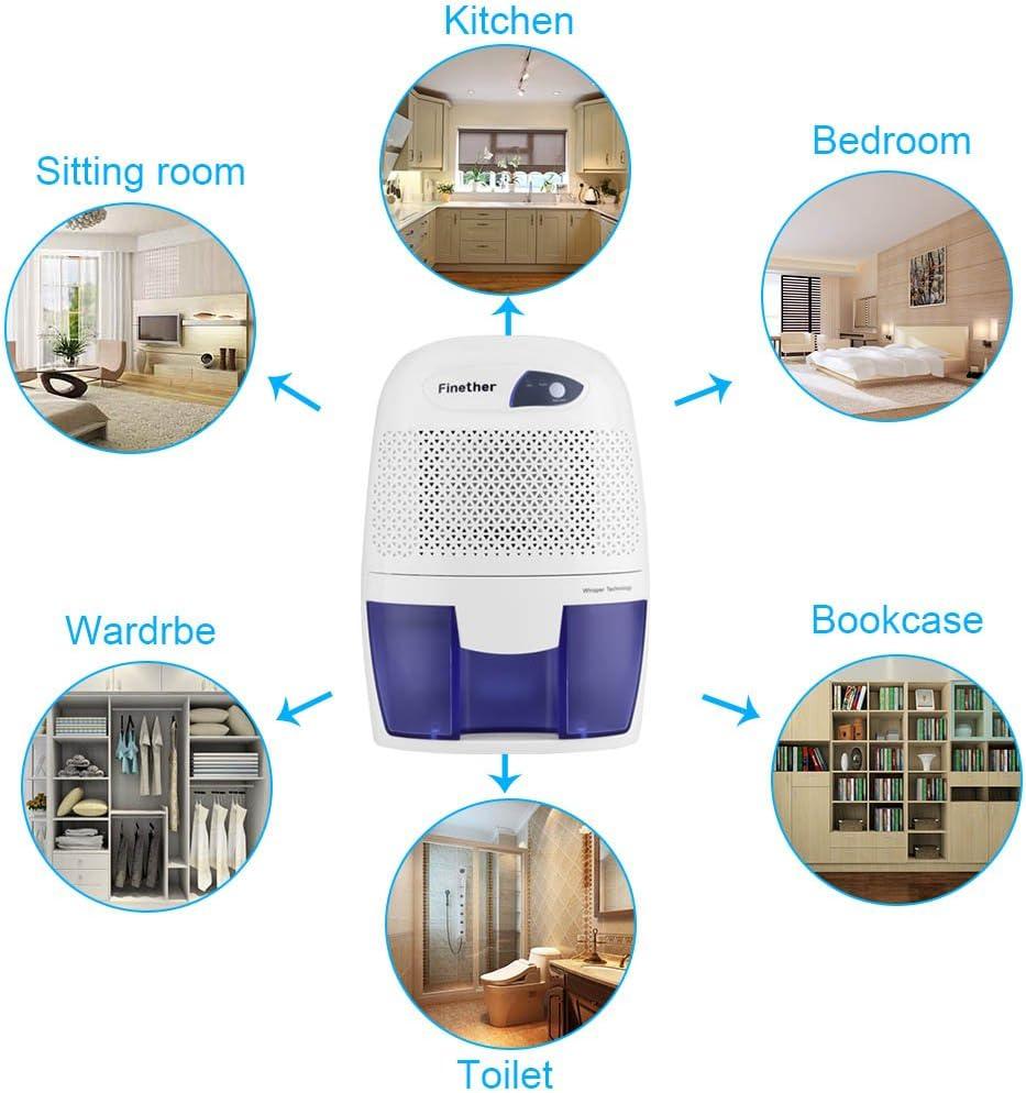 Finether-Mini Deshumidificador de Aire Portátil (500ml, Secadora para Casa, Dormitorio, Cocina, Garaje y más) Blanco ...