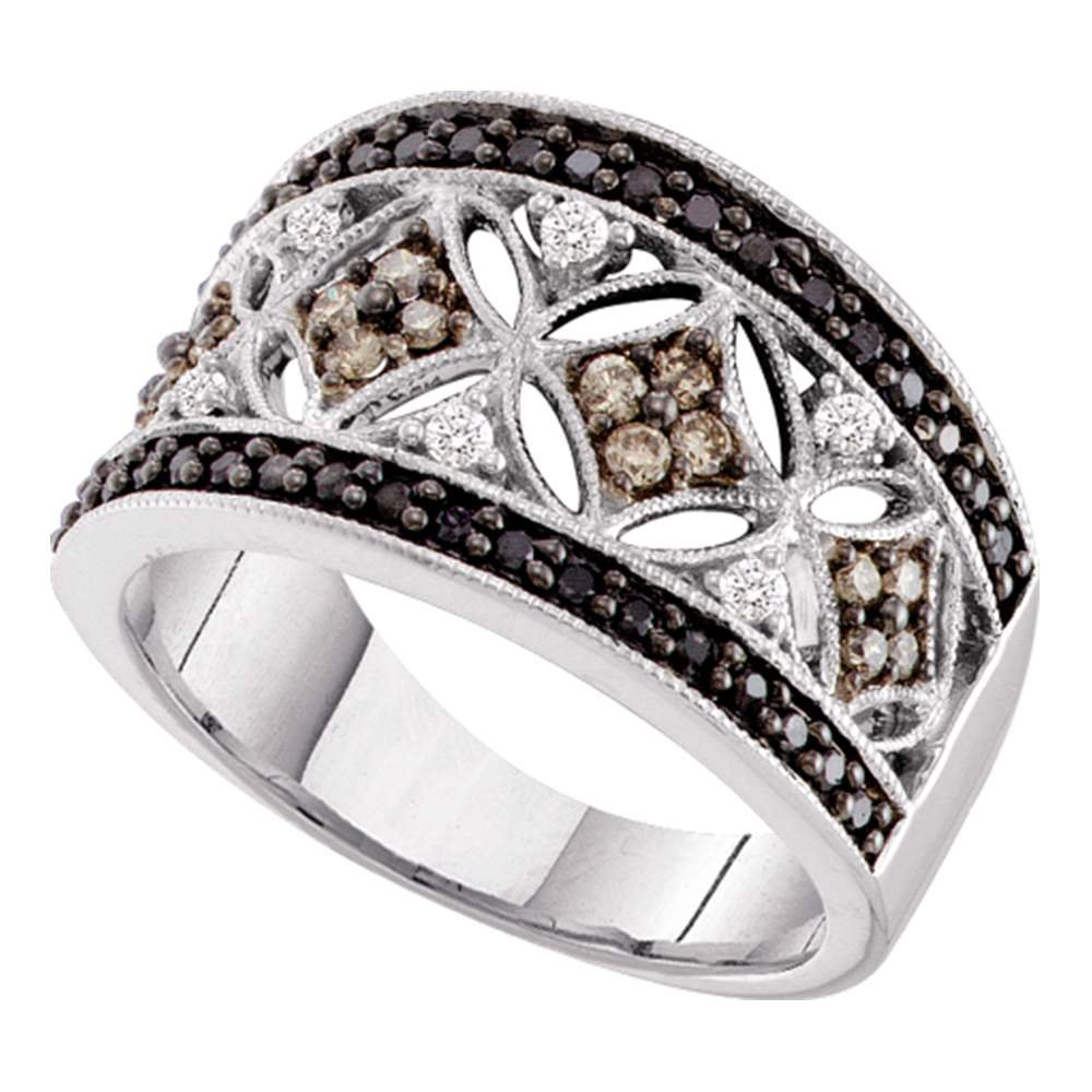 Sonia Jewels Size 6.5-14k White Gold Round Black Chocolate Brown Diamond Band Ring (1/2 Cttw)