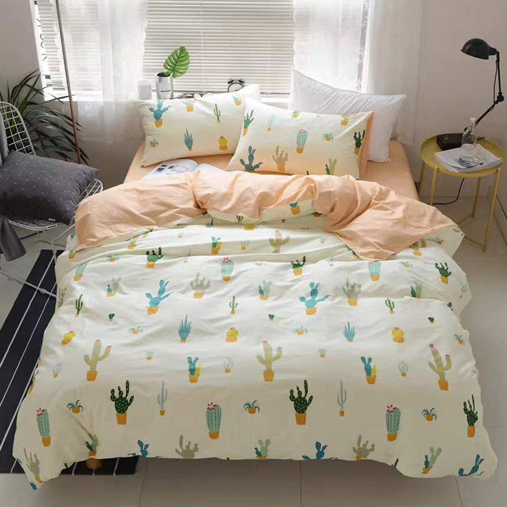 ?Newest Collection?Cactus Cartoon Kids Duvet Cover Twin Peach Girls Quilt Cover Cacti Children 3 Pieces Pale Yellow Plant Cute Bedding Cover Set Bedding Collections Set for Adult Teens,NO Comforter