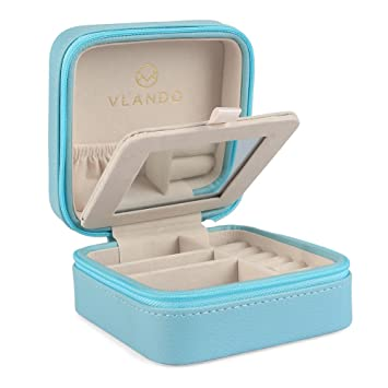 Amazoncom Vlando Macaron Small Jewelry Box with Mirror Travel