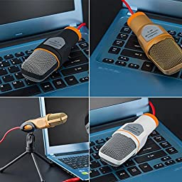Stouch Condenser Microphone for iPhone 6 6S Plus iPad Pro Samsung Galaxy S6 S7 Edge Android Phones xBox PC Computer with Chatting Recording Singing (Black)
