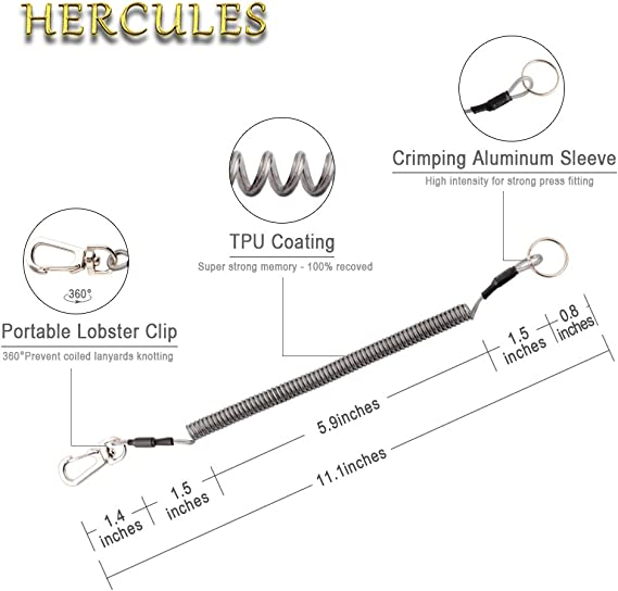 HERCULES Coiled Lanyard M2 Retractable Tether Steel Wire Inside Safety Fishing Ropes Attached with 360 Degree Rotation Lobster 69 Inches Max Stretch
