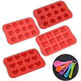 Raose Mini Silicone Baking Mold, Chocolate Molds&Candy Molds Set, Tray 4-in-1 Silicone Molds Set with 5 Pcs Measuring Spoons for Cupcakes,Muffins,Soap and Brownies