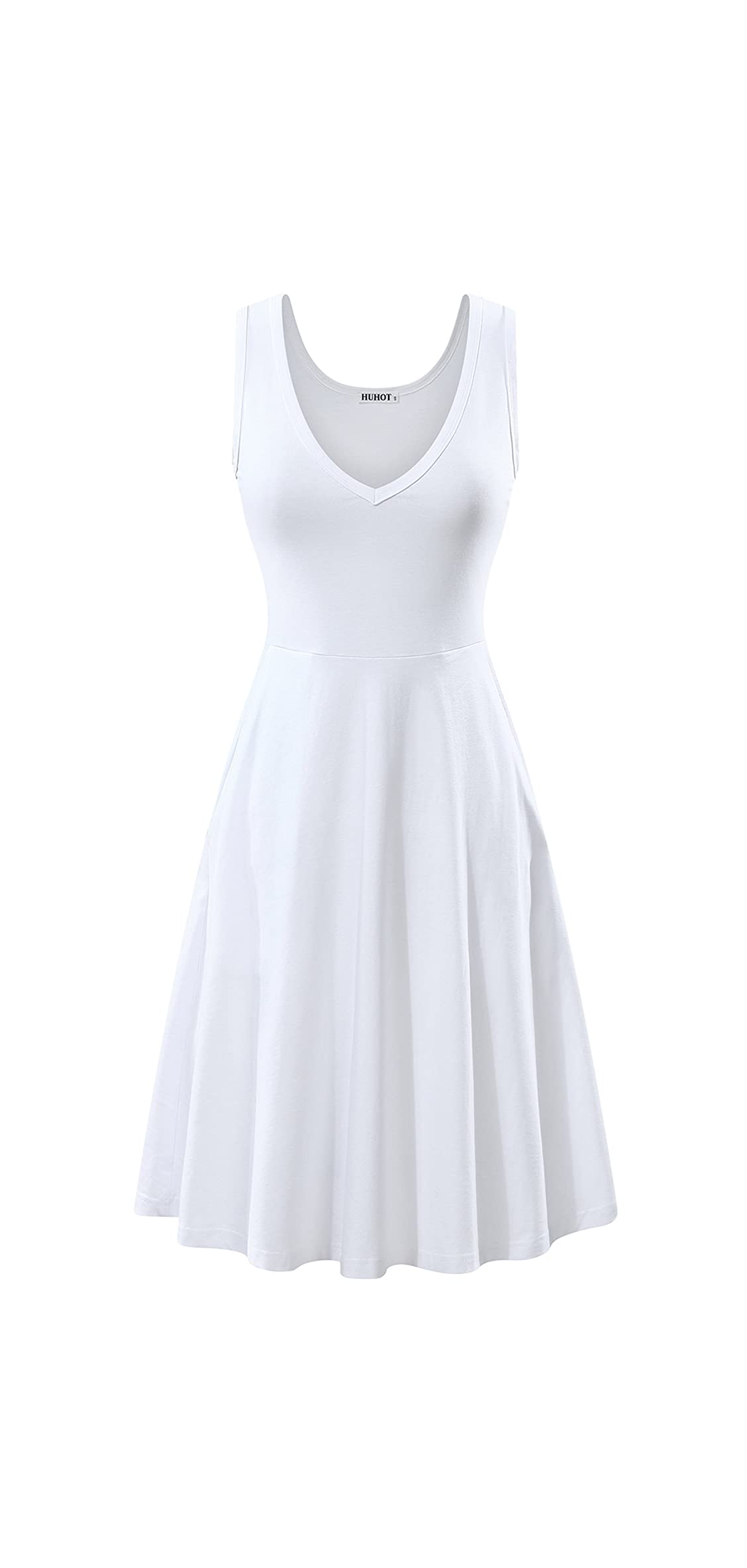 Womens Sleeveless V Neck Dress With Pocket Summer Beach