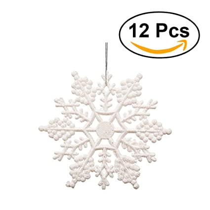 OULII Plastic Snowflake 10cm Christmas Tree Snowflakes Pieces Ornaments For Party Decoration White