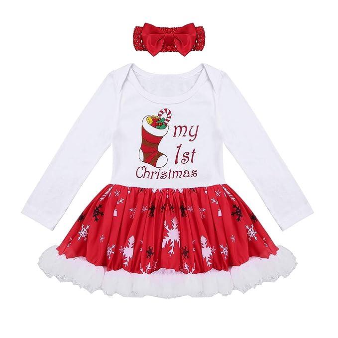 iiniim Conjunto de Navidad para Bebé Niña Recién Nacido Mi Primera Navidad Vestido + Diadema Estilo de Pelele Princesa Infantil Traje de Santa Fiesta ...