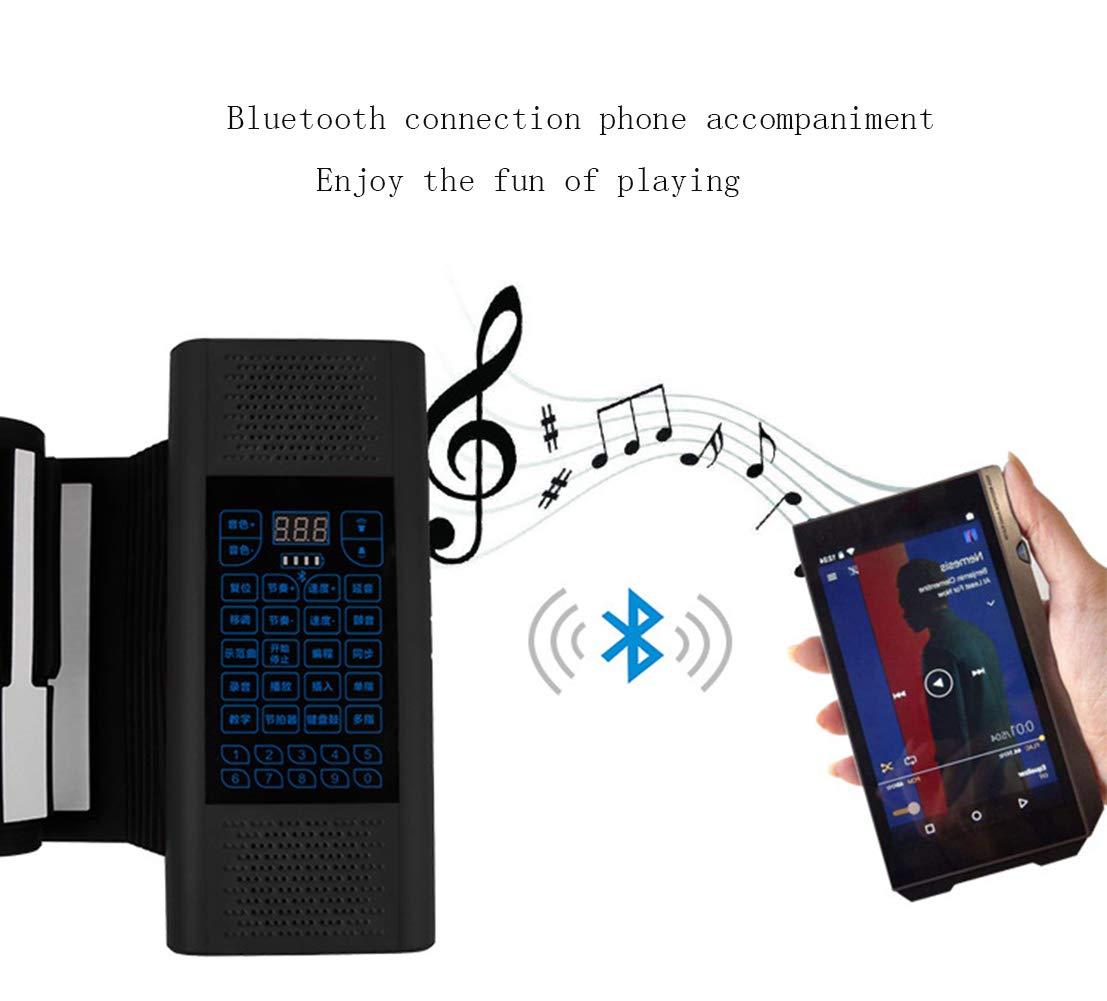 Piano Pliante 88 Touches du Clavier De Connexion Bluetooth De Clavier De Piano Portable avec P/édale De Sustain D/ébutant Supports De Piano Num/ériques Connexions De P/ériph/ériques Multiples