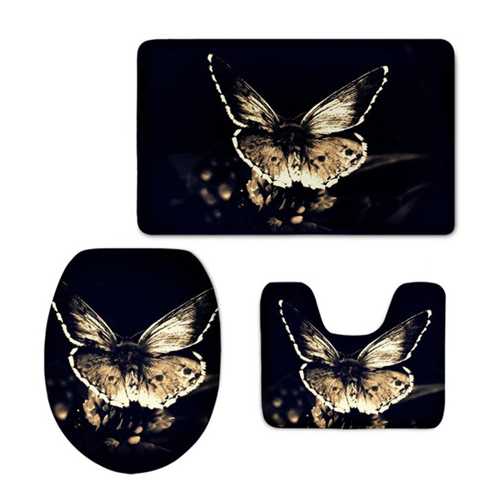 PIO 3D Gedruckt Rutschfeste Badematten Set Farbe Schmetterling Dickes Weiches Badezimmer Teppich Kontur Deckel WC Abdeckung [3 Stück], B B07M5NN2N1 Duschmatten
