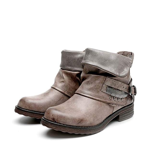 Z&HA Botas De Otoño E Invierno Vintage Para Mujer Tacón Bajo, Botines De Estilo Italianojoyas Retro Botines Remaches Hebillas, Zapatos Antideslizantes: ...