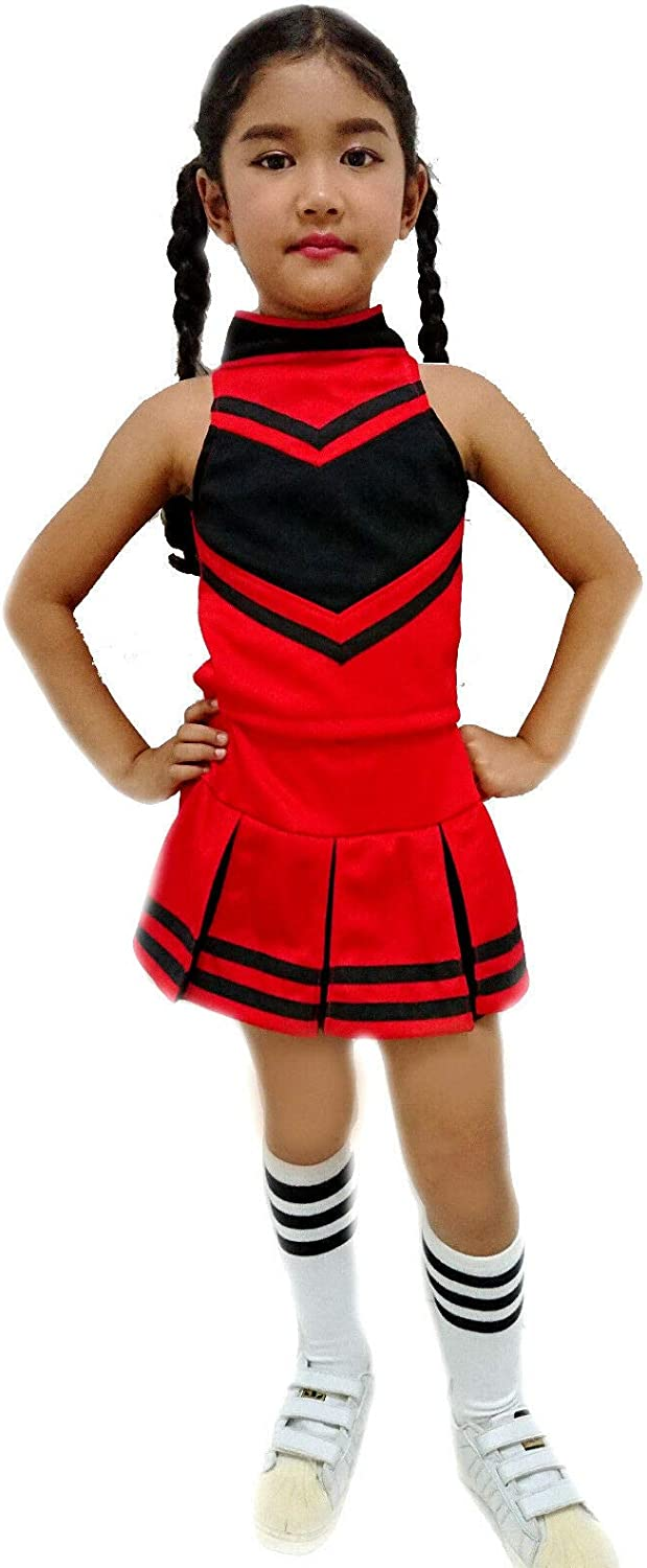 Details about  /Cheerleader Girls Child Small 4-6 Costume Black Red