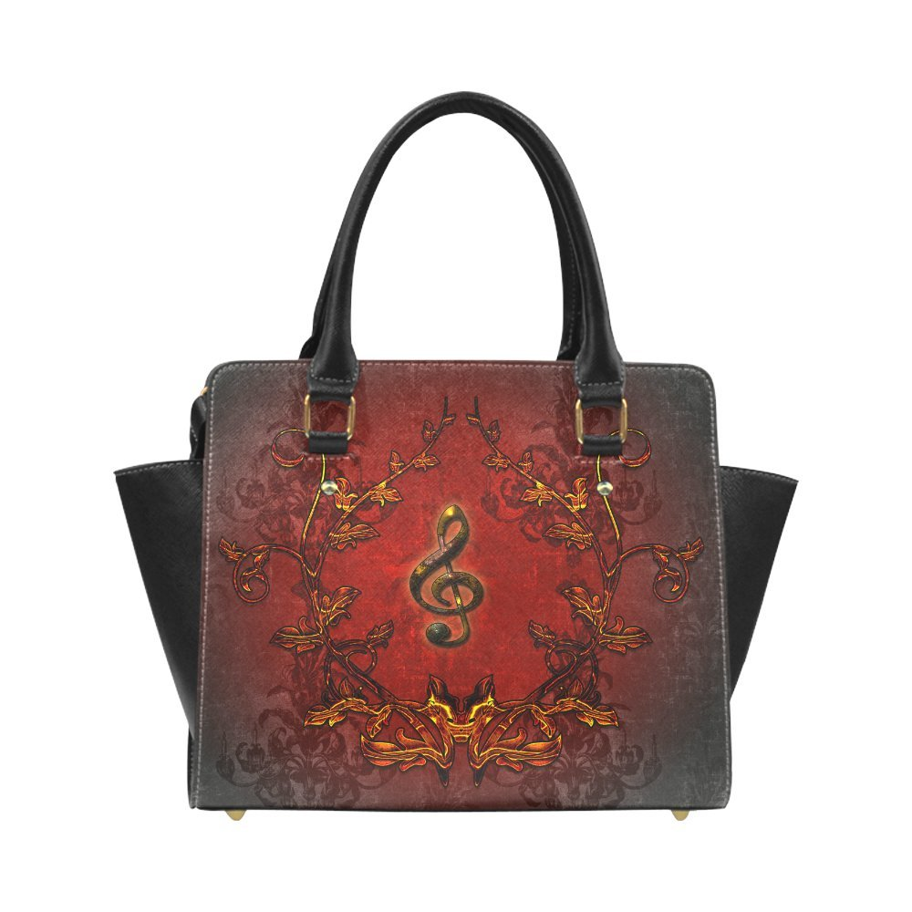 Interestprint Custom Music clef and red floral elements Classic Women Top Handbag Shoulder Bag