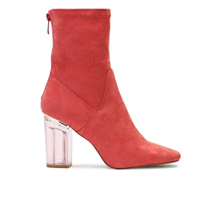 4359490ab New Womens Zip Up Block Heel Chunky Ankle Boots Red Coral Faux Suede UK 7