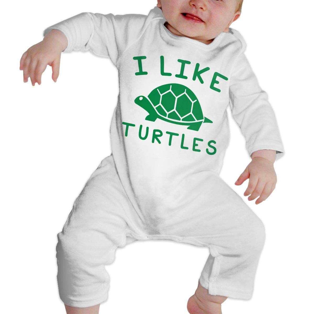 Baby Infant Toddler Cotton Long Sleeve I Like Turtles Jumpsuit Romper One-Piece Romper Clothes