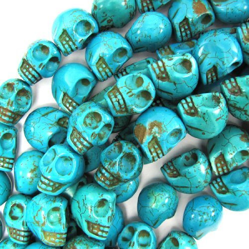Beautiful Bead 10X12mm Blue Turquoise Carved Skull Beads 16 Inch Strand for Necklace,Bracelet Jewelry - Turquoise Skull Stone Beads