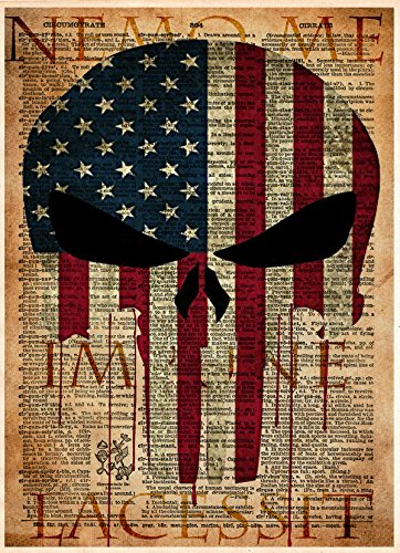 Punisher skull American flag art print, Military artwork, Patriotic decor, Nemo me impune lacessit