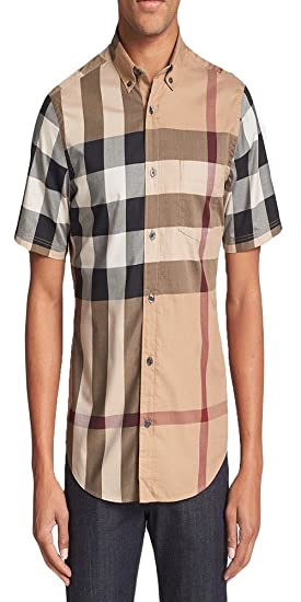 e6c25d21f Image Unavailable. Image not available for. Color: BURBERRY Brit Men's  Camel Fred Woven Short Sleeve Button Down Check Shirt XS
