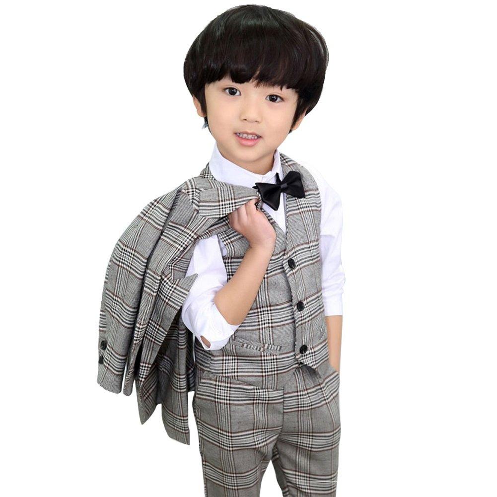 DREAMOWL 4Pcs Kids Boy Wedding Formal Dress Jacket+Pants Vest Bow Tie Suit