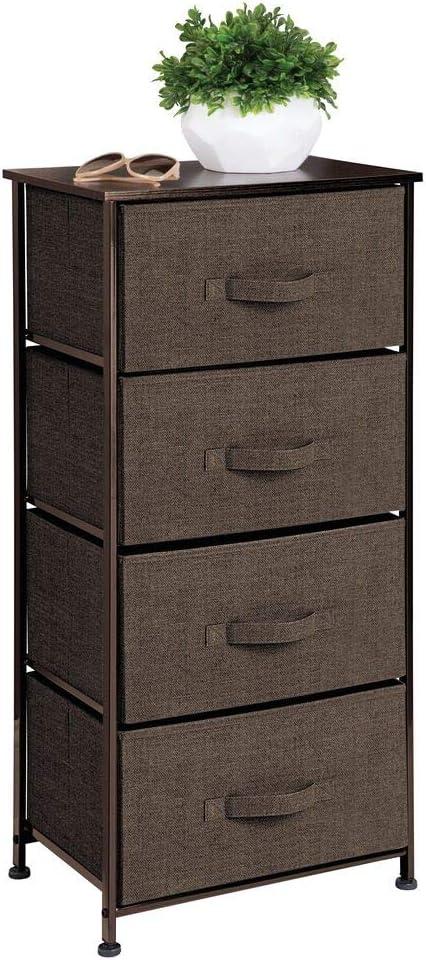 marrone scuro Com/ò moderno dalla struttura in metallo con 4 cassetti in stoffa ingresso e atrio mDesign Cassettiera tessuto Pratico cassettone per camera da letto
