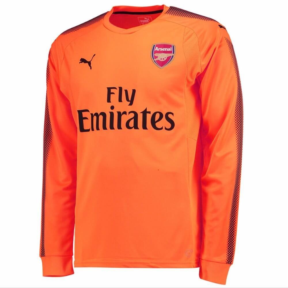 Puma 2017-2018 Arsenal Away LS Goalkeeper Football Soccer T-Shirt Trikot (Orange) - Kids
