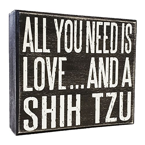 JennyGems - All You Need is Love and a Shih Tzu - Real Wood Stand Up Box Sign - Shih Tzu Gift Series, Shihtzu Moms and -