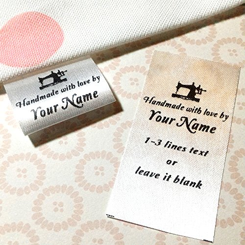 100 pcs Sewing machine design Custom text logo personalized Sewing hanging satin ribbon clothing labels folding name tag washable wash care handmade label size C