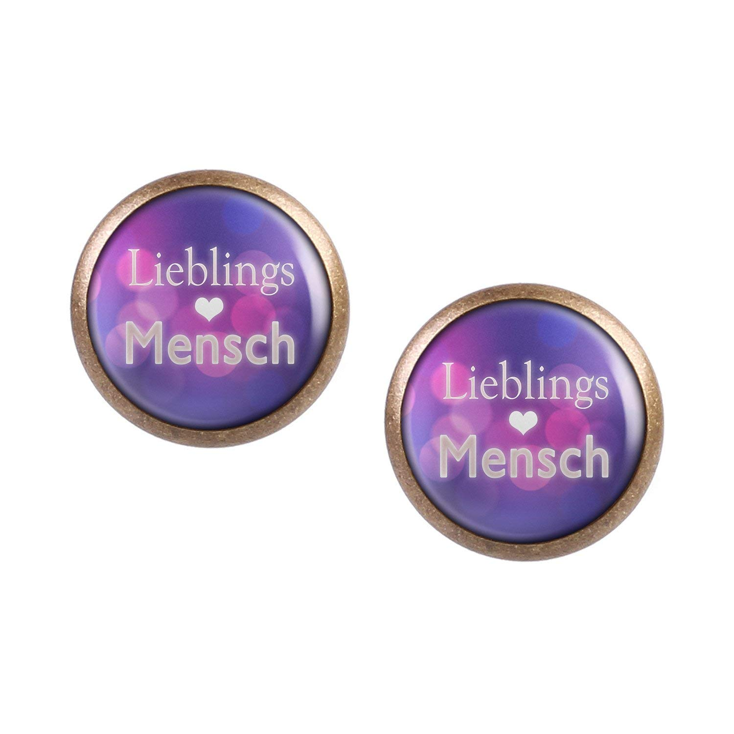 Stud Earring Pair with Cabochon Picture Favorite People Purple Pink bronze different sizes
