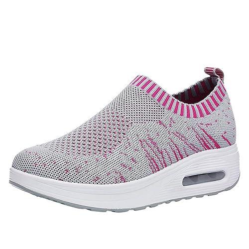 Zapatillas Deportivas de Malla Sneakers al Aire Libre para Mujer Gruesa con Suela De Goma (