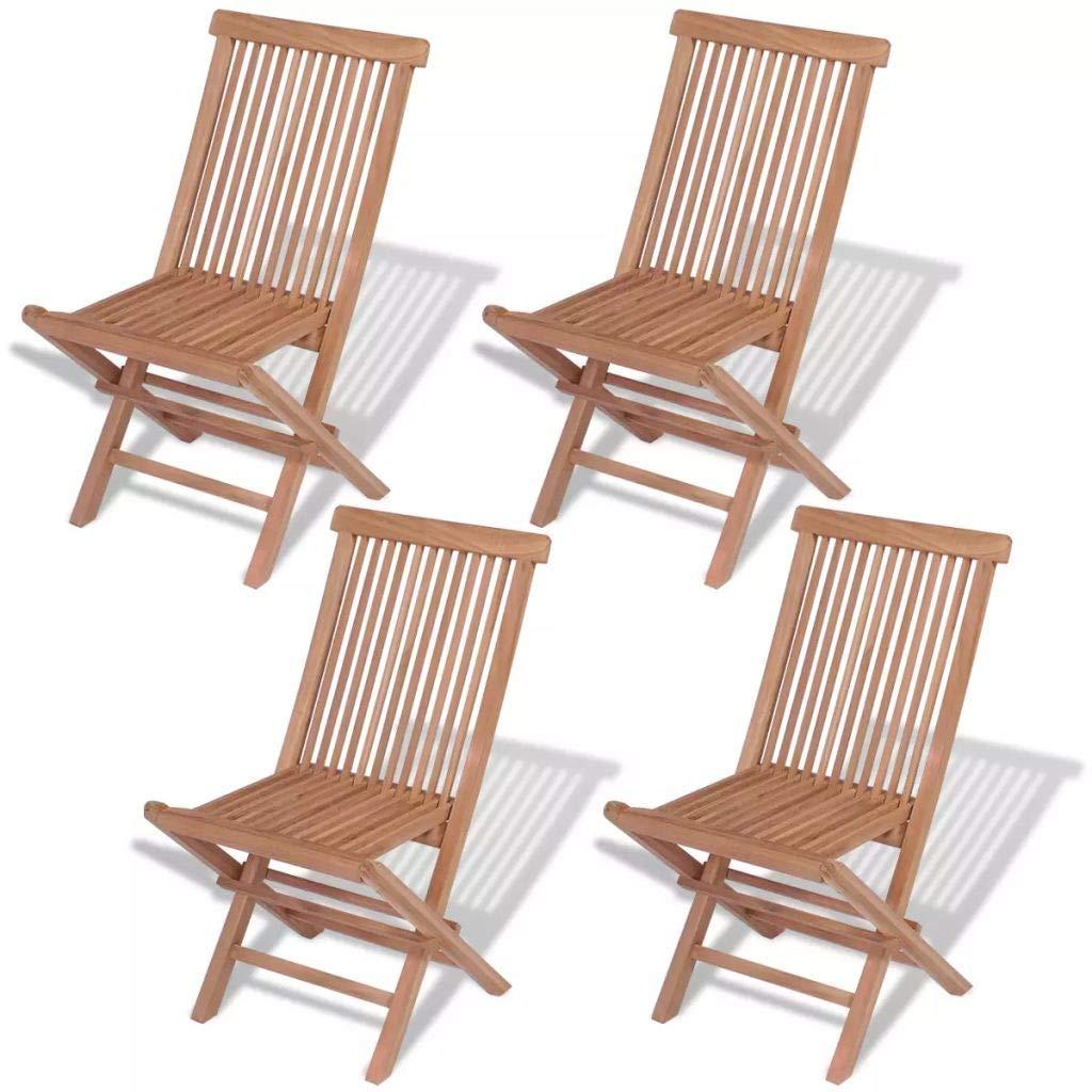 vidaXL Sillas plegables de exterior madera maciza de teca 4 ...