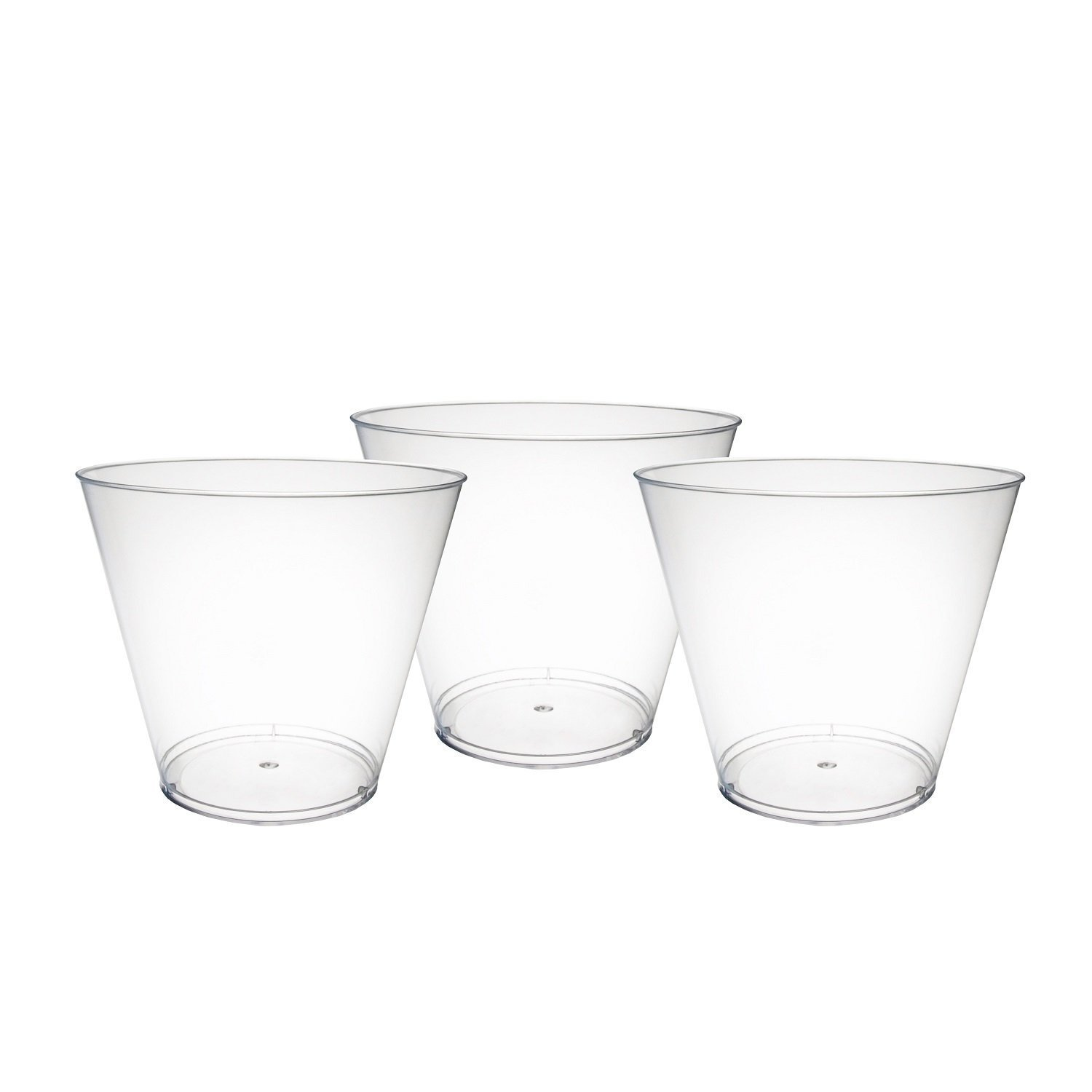 Party Essentials 100 Piece Hard Plastic, Party Cups/Old Fashioned Tumblers, 9 oz., Clear