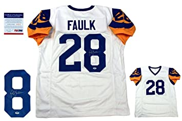 b22588b57 Autographed Marshall Faulk Jersey - Pro Style White - PSA DNA Certified -  Autographed NFL