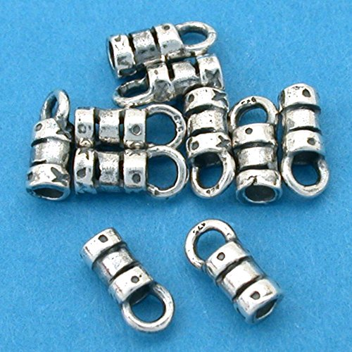 (10 Silver Crimp Beads Fancy Cord Ends W Loop 2mm New )