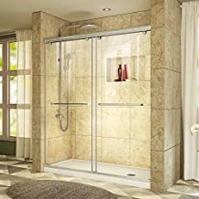 DreamLine Charisma 32 in. D x 60 in. W Frameless Bypass Shower Door in Brushed Nickel with Right Drain White Acrylic Base Kit, DL-6941R-04CL