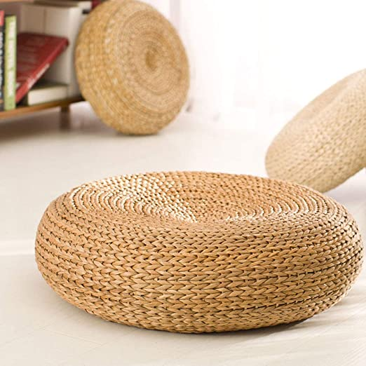 JUST N1 Rattan Stool Tatami Cushion Japanese Pure Natural Thick Handcraft Breathable Padded Round Straw Tuft Mat Decor for Yoga Tea Ceremony ...