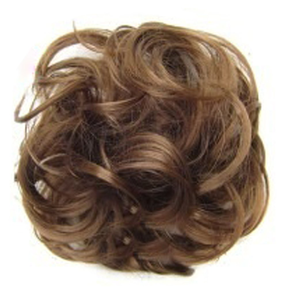 Gemini_mall®, elastico con extention di capelli per chignon, parrucca con acconciatura stile Updo, extention per coda di cavallo, extention con capelli mossi, ricci, ondulati e acconciati a chignon, da inserire su chignon arrotolato con ciambella Gemini_ma